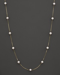 Bloomingdale's 14K Yellow Gold Akoya Cultured Pearl Necklace 32
