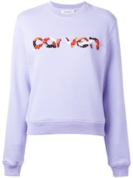 Carven Sequins Logo Jumper Pink Purple
