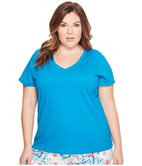 Jockey Cotton Essentials Plus Size V Neck Tee Teal Women's Pajama Blue