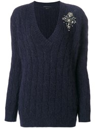 Ermanno Scervino V Neck Cable Knit Applique Sweater Polyamide Angora Wool Virgin Wool Blue