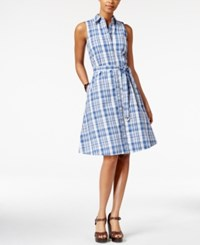American Living Plaid A Line Shirtdress Only At Macy's Blue Ridge Pearl
