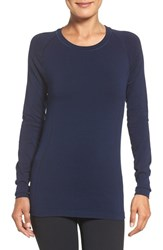 Zella Women's 'Chamonix' Long Sleeve Seamless Tee Navy Peacoat Heather