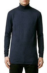 Men's Topman Navy Longline Turtleneck Sweater