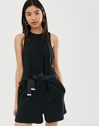 Dr. Denim Dr Playsuit With Exposed Zip Black