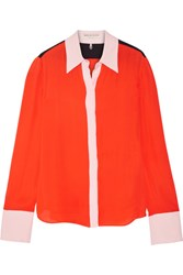 Emilio Pucci Color Block Silk Crepe De Chine Shirt Tomato Red