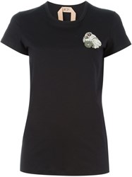 N 21 N.21 Rhinestone Monkey Applique T Shirt Black