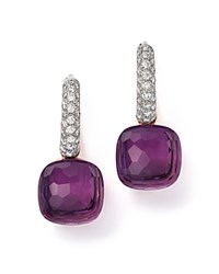 Pomellato Nudo Earrings With Amethyst And Diamonds In 18K White And Rose Gold Purple White