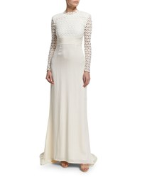 Self Portrait Eva Long Sleeve Open Back Combo Gown Off White Women's
