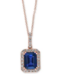 Effy Collection Royal Bleu By Effy Sapphire 1 3 4 Ct. T.W. And Diamond 1 4 Ct. T.W. Pendant Necklace In 14K Rose Gold Blue