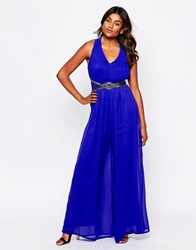 Little Mistress Cross Back Jumpsuit With Embellished Waist Blue