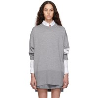 Thom Browne Grey Oversized 4 Bar Pullover Sweater