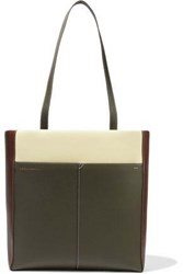Victoria Beckham Woman Color Block Leather Tote Sage Green