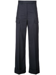 Vera Wang Striped Straight Trousers Blue