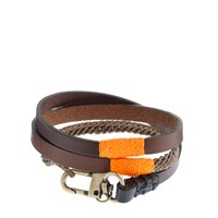 J.Crew Caputo And Co.Tm Triple Wrap Leather And Waxed Cord Bracelet Brown