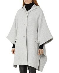 Reiss Dita Hooded Cape Coat Light Gray