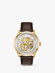 Bulova 97A138 'S Sutton Skeleton Automatic Leather Strap Watch Brown Silver