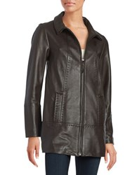 Jones New York Zip Front Leather Coat Dark Brown