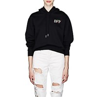 Off White C O Virgil Abloh Peace Sign And Logo Cotton Terry Hoodie Black