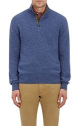 Luciano Barbera Men's Cashmere Mock Turtleneck Sweater Light Blue