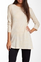 Go Couture Long Sleeve Crew Neck Burnout Tee Beige