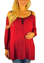 Holiday Maternity Tops Cold Shoulder Mommylicious Maternity