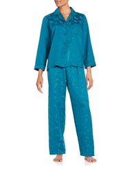 Miss Elaine Printed Pajama Set Blue