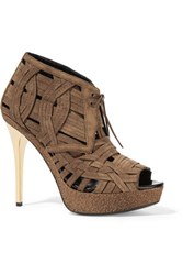 Burberry Woven Suede Ankle Boots Light Brown