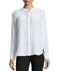 Vince Sheer Panel Long Sleeve Blouse Off White