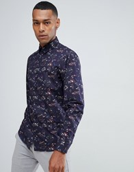 Selected Homme Smart Shirt In Slim Fit All Over Floral Print Dark Navy