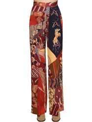 Etro Wide Leg Printed Cady Pants Multicolor
