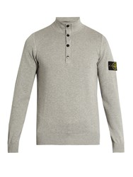 Stone Island Logo Patch Cotton Sweater Light Grey