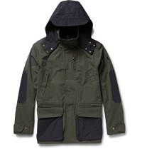The Workers Club Hooded Two Tone Cotton Canvas Jacket Green