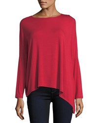 Majestic Long Sleeve Asymmetric Tee Winter Red