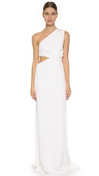 Kaufman Franco One Shoulder Gown Ivory
