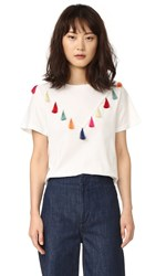 English Factory Short Sleeve Tassel T Shirt White Combo