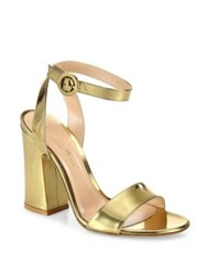 Gianvito Rossi Tandi Metallic Leather Ankle Strap Block Heel Sandals Gold