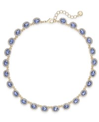 Charter Club Silver Tone Pave And Pink Stone Collar Necklace Created For Macy's Blue