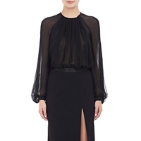Silk Chiffon Peasant Blouse Black