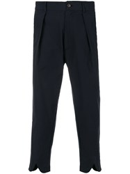 Societe Anonyme V Cuffed Cropped Pinstripe Trousers Cotton Blue