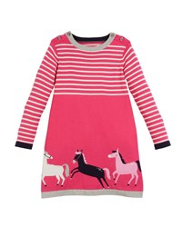 Joules Millicent Horse Intarsia Long Sleeve Dress Pink