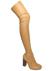 Loewe 90Mm Stretch Leather Over The Knee Boots Camel