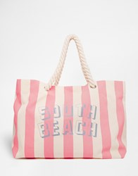 South Beach Pink Striped Beach Bag With Rope Handle Pink
