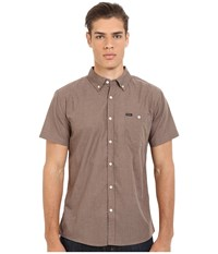 Brixton Central Short Sleeve Woven Chambray Heather Brown Men's Clothing