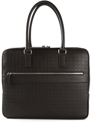 Salvatore Ferragamo Gancio Embossed Briefcase Brown