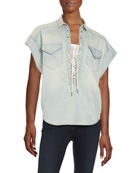 Blank Nyc Lace Up Chambray Shirt Left Field