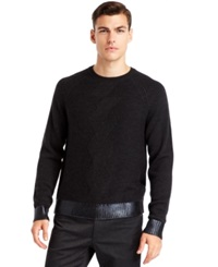 Kenneth Cole New York Cable Knit Crew Neck Sweater Charcoal Heather