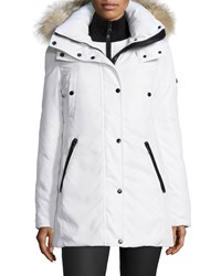 Andrew Marc New York Zip Front Fur Hood Parka W Bib Women's White