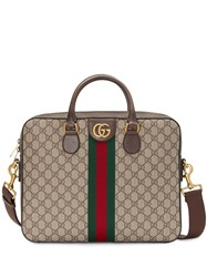 Gucci Gg Supreme Briefcase Neutrals