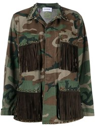 P.A.R.O.S.H. Fringed Camouflage Print Military Jacket 60