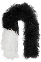 Karl Donoghue Two Tone Shearling Scarf Black
